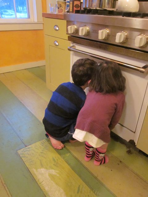 Anxiously watching the oven for the finished products